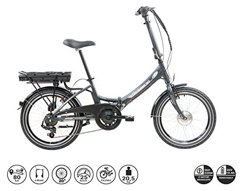 F.lli Schiano E- Star, Bicicletta elettrica Pieghevole Unisex Adulto, Antracite, 20''