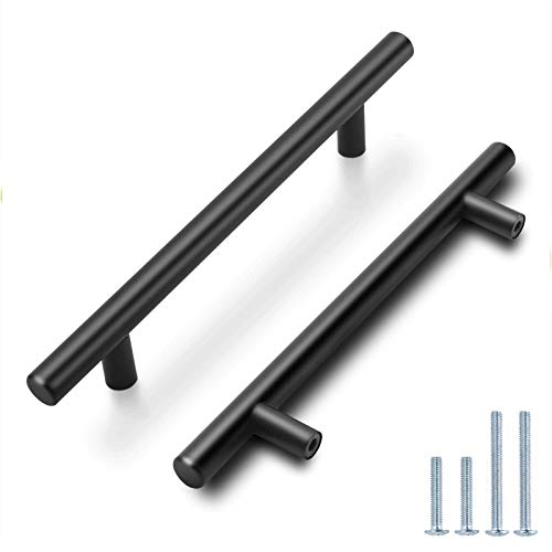 Probrico (5 Pack)5 Inch Hole Centers Flat Black Modern Cabinet Hardware Cupboard Pull Kitchen Cabinet T Bar Handle Dresser Pulls Stainless Steel Cabinet Hardware, 7-1/2 Total Length