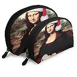 Bolsa de Maquillaje Mona Lisa con Sombrero de Santa Funda de Maquillaje de Concha portátil para Fiesta de Madre Paquete de 2