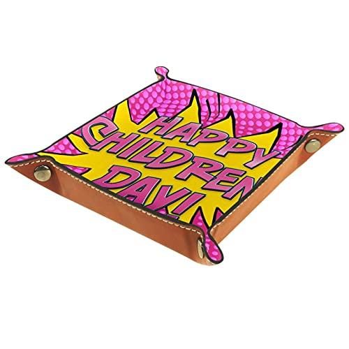 AITAI Bandeja de valet de cuero vegano, organizador de mesita de noche, placa de almacenamiento de escritorio, estilo cómico, para el día de los niños, fondo rosa