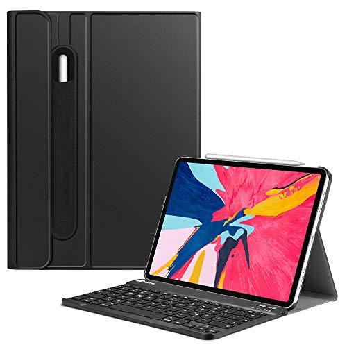 Fintie Tastatur Hülle für iPad Pro 11 Zoll 2018 (Kompatibel mit 2. Gen Pencil, kabelloser Ladefunktion) - Ultradünn Schutzhülle mit magnetisch Abnehmbarer Bluetooth Tastatur [ QWERTZ ], Schwarz