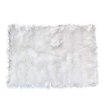 Super Area Rugs Soft Faux Sheepskin Flokati Shag Silky Rug Baby Nursery Childrens Room Rug in White, 5' x 7'