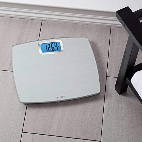 Taylor 500 lb. Digital Extra Thin Bathroom Scale Extra-High Weight Tracking Carbon Tempered Glass (Silver)