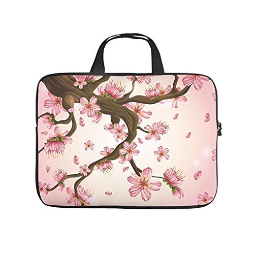 Bolsa para portátil con diseño de flores de cerezo japonés, resistente al desgaste, para trabajo, negocios, personalizable, regalo, Blanco, 12 pulgadas,