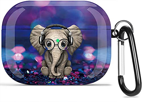 Airpods Pro Case, Olytop Cute Elephant Air Pods Pro Cover Accessories Compatible with Apple Airpods Pro 2019, Shockproof Protective Case Cover for Girls Women with Keychain Elephant