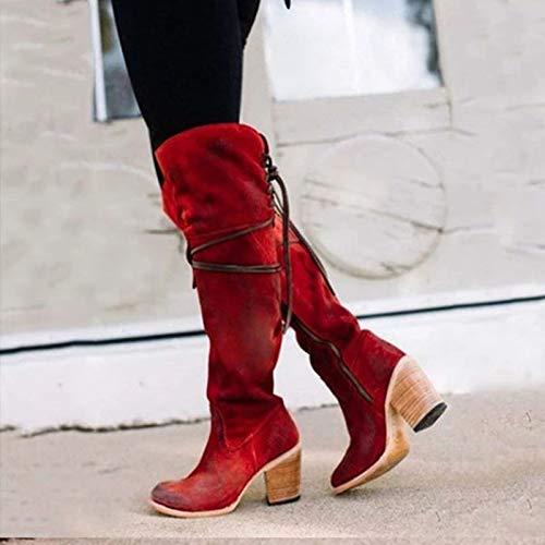 Botas de mujer con cordones sexy de tacón alto para mujer con cordones de invierno hasta la rodilla botas cálidas, rojo, 39 EU