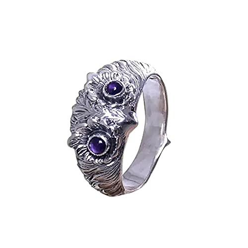 minjiSF Anillos de ojo de búho para mujeres y hombres, con personalidad, anillos creativos a la moda, unisex, joyas únicas, regalo de amistad, anillos de dedo únicos, accesorios de joyería (lila, 10)
