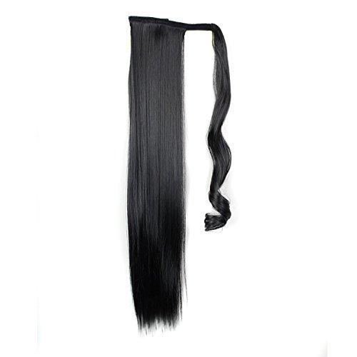 """Quibine 24"""" Postiche Queue de Cheval Extension de Cheveux Perruque Droites, 1B"""
