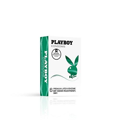 PLAYBOY CONDOMS Grün (3 in 1) Kondome mit erregender Struktur für mehr Freude, 1 x 6 Stück