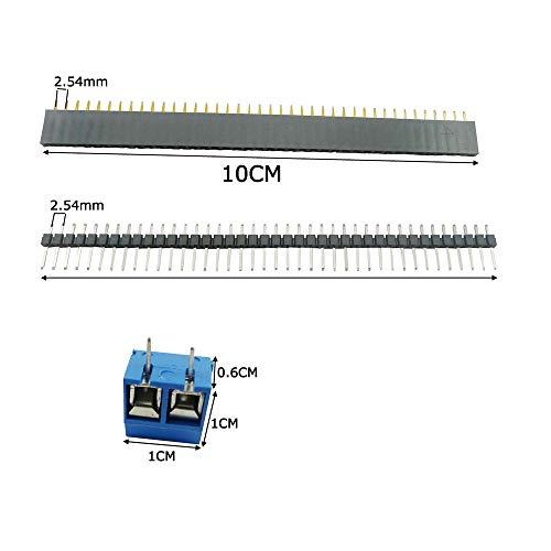 Aihasd 50Stk Doppelseitig Lochrasterplatte Kit 5x7 4x6 3x7 2x8CM Double Side Lochrasterplatine Leiterplatte Platine PCB Universal Board Con 10x PCB Schraubklemmenblock,10x Stecker, 10x Buchsenleiste