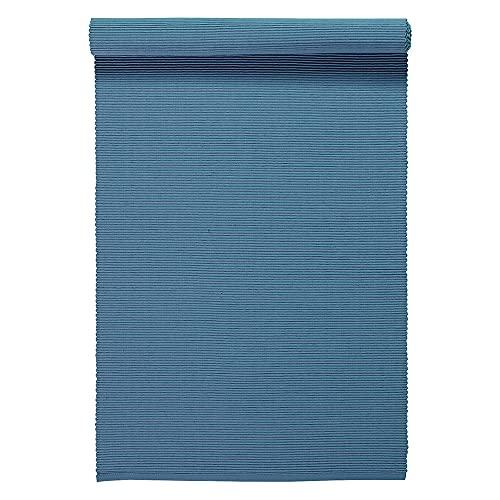 LINUM UNI Chemin de Table décoratif 45 x 150 cm en Coton côtelé, Lavable en Machine, Bleu Ocean
