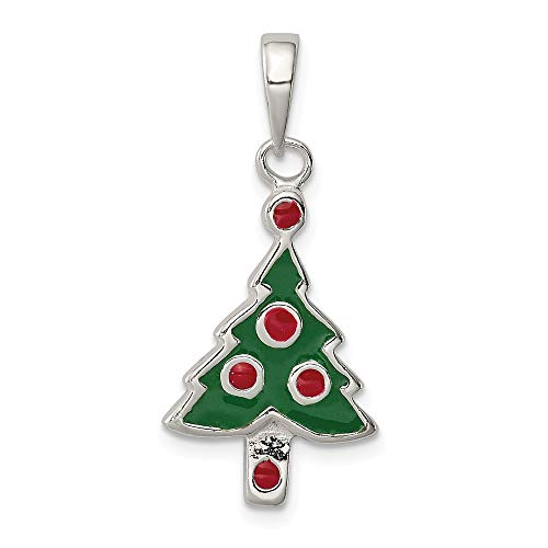 Saris and Things 925 sterlingsilber enameled Weihnachtsbaum Shaped anhänger