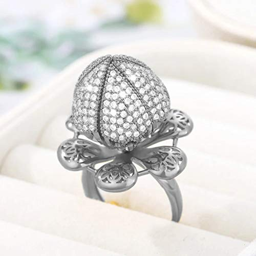 Janly Clearance Sale Women Rings, Flower Blooming Adjustable Rings, Valentine's Day Jewelry Gifts, Ladies Crown Diamond Crystal Ring, 1PCS Aluminium Alloy Statement (Silver)