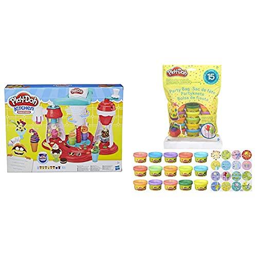 Play-Doh Super Heladeria (Hasbro E1935EU6) + Bolsa De 15 Mini Botes (Hasbro 18367EU5) , Color/Modelo Surtido