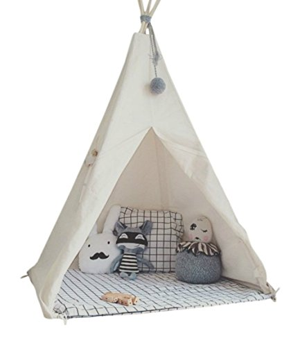 LITTLE DOVE Kid's Foldable Teepee Play Tent with Banner & Carry Case One Four Ploes Style Raw White