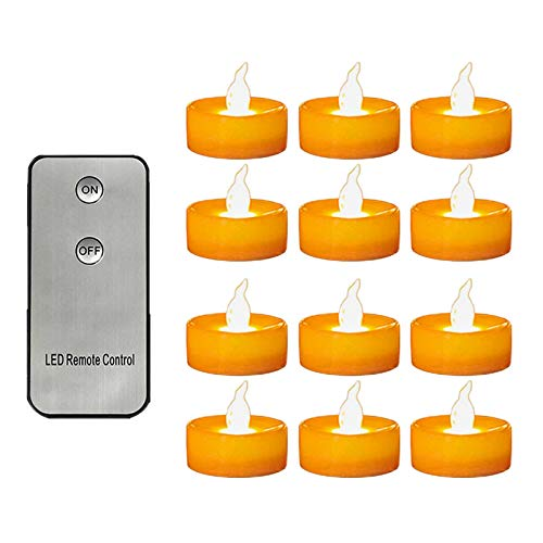 P Prettyia 12Lots Flameless LED Tea Light Candles Remote Control Home Wedding Party Decor