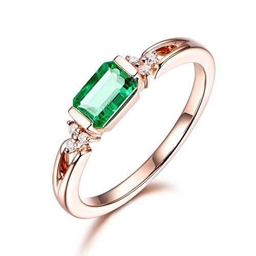 Dreamdge Women Engagement Rings 18K Gold Cushion Ring, Green Emerald Ring 0.59ct Size I½