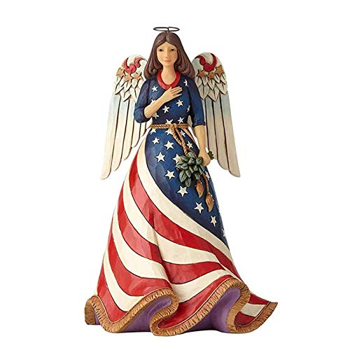 Independence Day Female Angel Decoration Resin Craft Decoration,4th Of July Independence Day Decoration Patriotic American Flag Statue Praying Angel Memorial Gifts For Home Home Office Decor