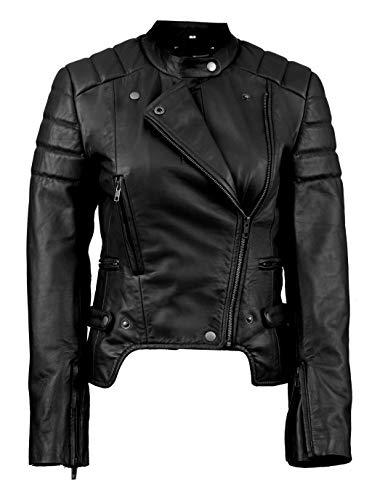 SNA Collection Chaqueta de piel para moto para mujer - negro - Medium