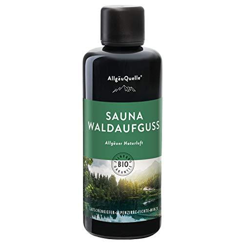 AllgäuQuelle Saunaaufguss mit 100% BIO-Öle Waldaufguss Fichte Latschenkiefer Alpenzirbe Minze (100ml). Natürlicher Sauna-aufguss mit Sauna-ätherische-Öle im Aufguss-Mittel.