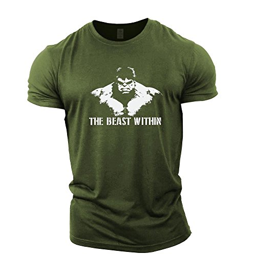 GYMTIER Bodybuilding-T-Shirt der Männer - Beast Within - Fitness-Trainingsoberteil