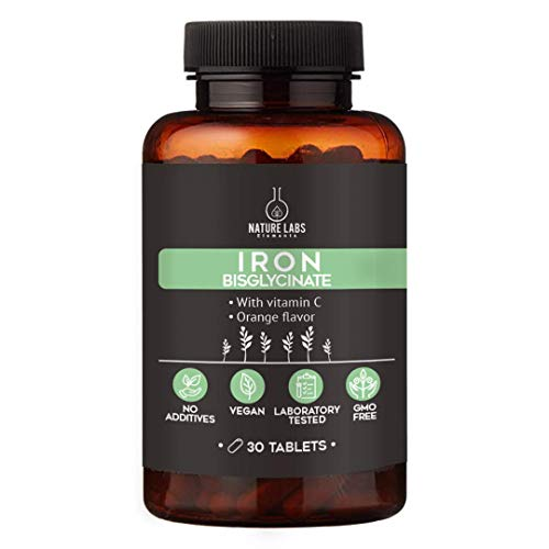 Iron Bisglycinate Tablets with Vitamin C - Orange Flavor for a Better Taste - 30 Tablets by Nature Labs Elements