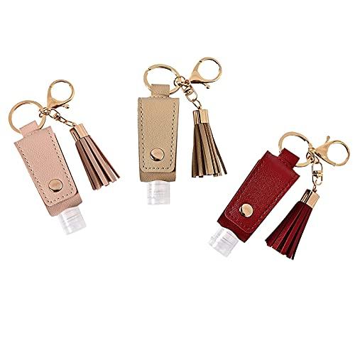 Kwastje sleutelhanger, PU lederen tas, lege fles sleutelhanger, handdesinfectie lederen tas, compact en handig, verzenden naar familie, vrienden, klasgenoten