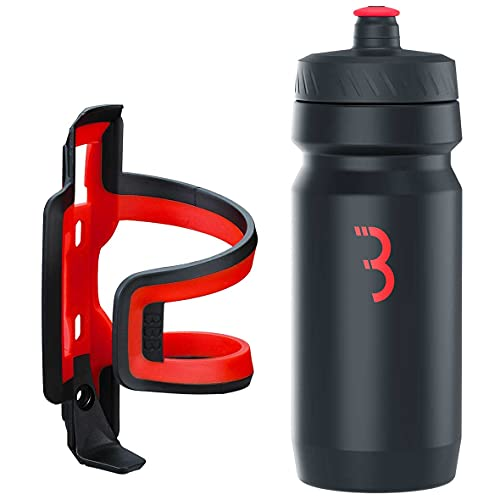 BBB Cycling Flaschenhalter Fahrrad Combo Fueltank Wasserflasche BBC-40C, Schwarz-Rot, 550 ml
