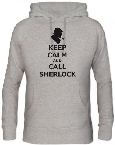 Shirtstreet24, Keep Calm And Call Sherlock, Herren Kapuzen Sweatshirt Hoodie - Pullover, Größe: S,Graumeliert