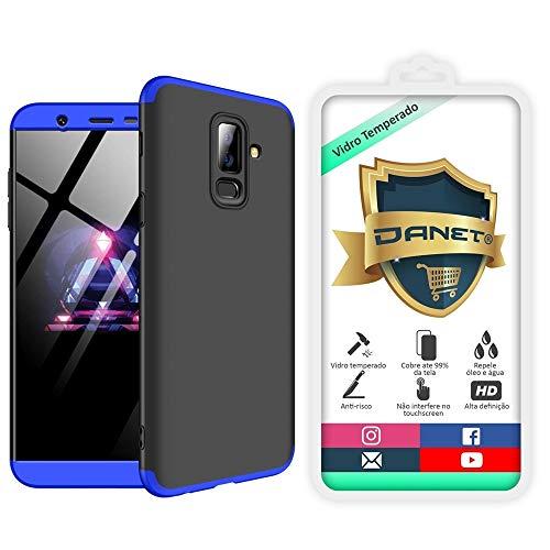 """Kit Capa Capinha Anti Impacto 360 Para Samsung Galaxy J8 Com Tela 6.0"""" - Case Acrílica Fosca E Acabamento Macio Com Película De Vidro Temperado - Danet (Preto com azul)"""