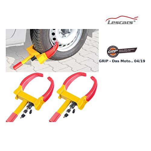 Lescars Autodiebstahl-Sicherung: 2er-Set Universal-Radkrallen zum Diebstahlschutz für Reifen bis 265 mm (Auto-Kralle Reifen)
