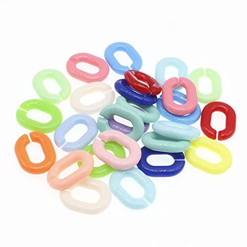 AFANGMQ 50 unids Color Mezclado acrílico óvalo Anillo Abierto Cuentas Conector Cadena de Enlaces para Collar Pulsera Que Hace 24 mm