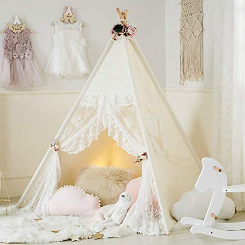 Kids Tent Floral Classic Ivory Kids Teepee Play Tent Childrens Play House Tipi Kids Room Decor little dove