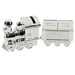Bambino Silver Plated Train Money Box & First Tooth and Curl Carriage