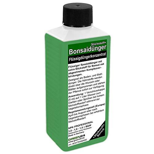 GREEN24 Bonsai-Dünger NPK Stickstoff+ HIGHTECH Dünger zum düngen von Bonsai Pflanzen, Premium Flüssigdünger aus der Profi Linie