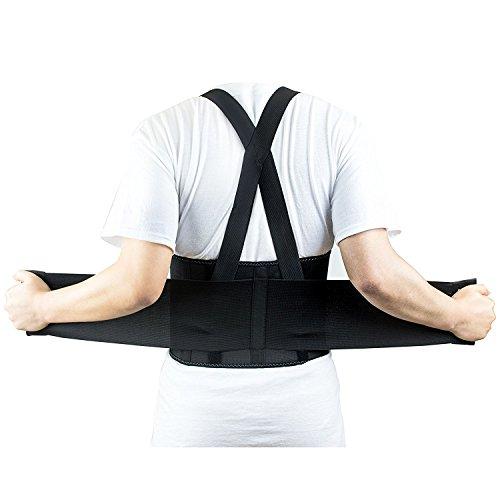 RK Safety RKBST11 Elastic Back Support Belt with Adjustable Shoulder Straps (3XL, Black)
