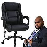 Big and Tall Executive Office Chair - Heavy Duty 500lbs Wide Seat PU Leather Swivel Rolling Chair Ergonomic Desk Computer Chair w/High Back & Lumbar Support Arms for Home Office Black