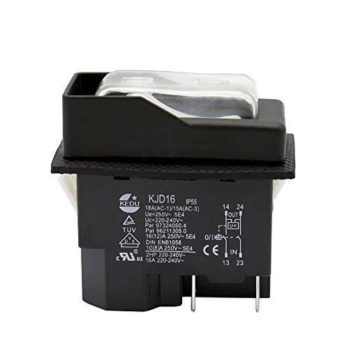 KEDU KJD16 - Interruptor de botón electromagnético impermeable de 4 pines con protección contra sobrecarga UVLO para herramientas eléctricas y equipos de máquina herramienta 250V 16A 2HP