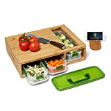 Bamboo Cutting Board with Drawers, 3 Food Storage with Air-Tight Lid Fully Stackable, Large Chopping Board with Juice Grooves, & Food Sliding Opening for Easy meal prep, and Kitchen Space Saver