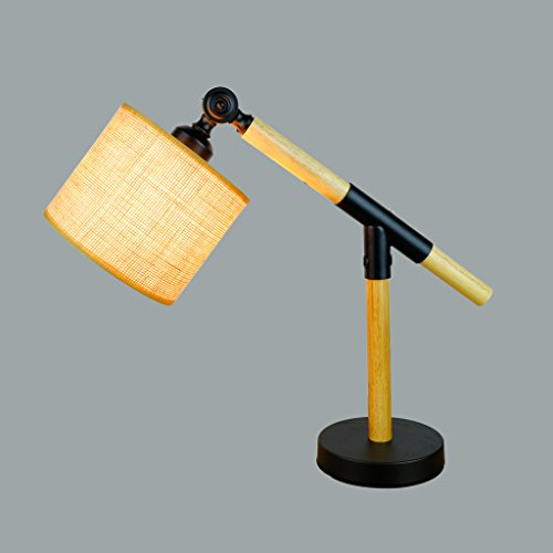 XUANLAN La lampe réglable pliante moderne en bois solide créatrice, lit simple d'oeil mené lisant la lampe de table décorative