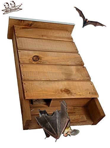 BLIZNIAKI BAT Box Fledermaus-Kaste Fledermaushaus aus Holz Nistkaste Fledermauskasten zum Aufhängen Unterschlupf für Fledermäuse Schläger Geeignet für Fledermäus (BDN1 O)