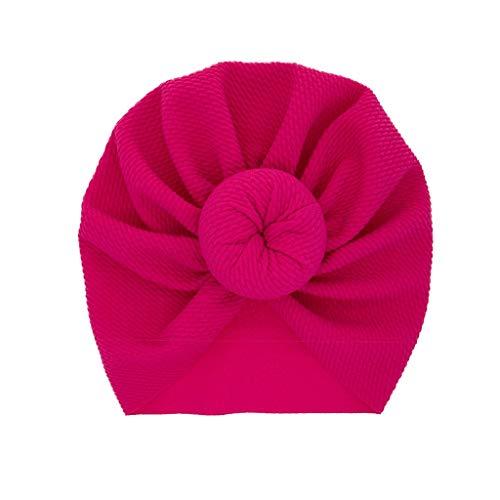 LABIUO 12 Couleurs Style Indien Noeuds Bonnet Bébé, Mode Chapeau Bandeau Turban Noeud Mou Tête Wraps pour Bébé Filles Bonnet Nouveau-Né Tout-Petits pour 0-2 Ans(Rose Vif,Taille Unique)