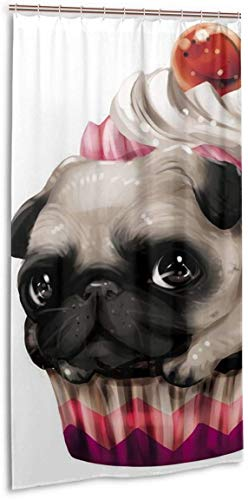BGNHG Duschvorhang Cupcake Cute Pug Dog Interesting Home Decorations Valid Mouldproof Shower Curtains Waterproof Opacity Decor Spa Curtain Bathroom Polyester Shower Curtain 36x72 Inch