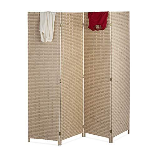 Relaxdays Paravent Raumteiler, 4-teilig, HxB: 180x180 cm, Faltbarer Raumtrenner, modern, Sichtschutz, Kunststoff, beige