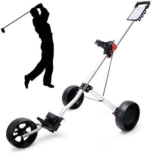 ZZX Faltbarer Golfwagen Mit 3 Rädern, Leichter Golfbuggy, Schnell Öffnender Und Schließender Golfcaddy, Zusammenklappbarer Wagen, Golf-Push/Pull-Wagen,Silver
