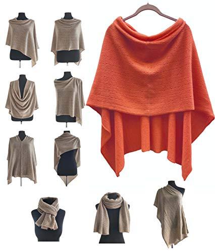 Poncho de cachemir para mujer, bufanda de viaje, chal con botones, de punto, pashmina, portátil, ligera, multisentido, 100% puro, regalo ético quemado, rojo y naranja