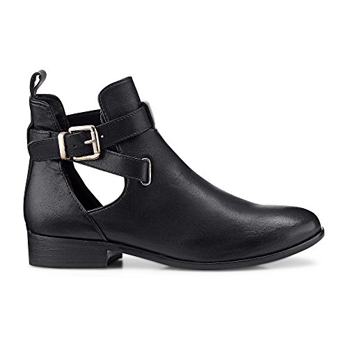 Cox Damen Trend-Stiefelette, Flache Angle Boots in Schwarz aus weichem Glattleder Schwarz Glattleder 41