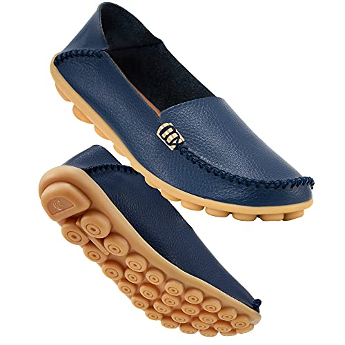 DUOYANGJIASHA Women's Comfortable Leather Loafers Casual Round Toe Moccasins Wild Driving Flats Soft Walking Shoes Women Slip On Darkblue