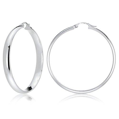Pendientes de aro de plata de ley de 5 mm de ancho, diseño semicircular, pulido, todos los tamaños