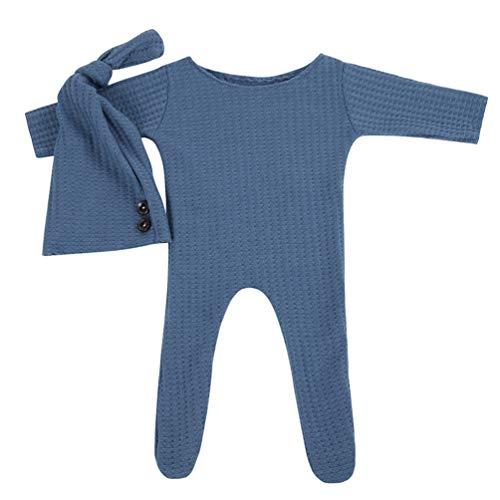Amosfun Baby-Fotoanzug, bequem, mit nicht verknoteter Mütze, einfacher Anzug für Baby (Overall + Hut), Dunkelblau, Größe M